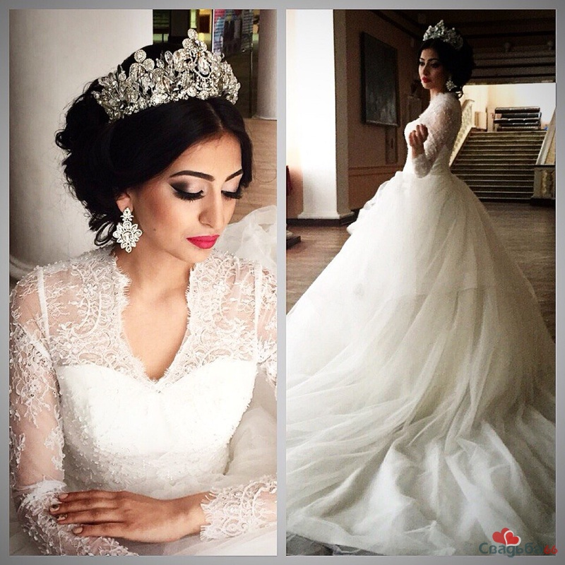 прически невест с короной и фатой