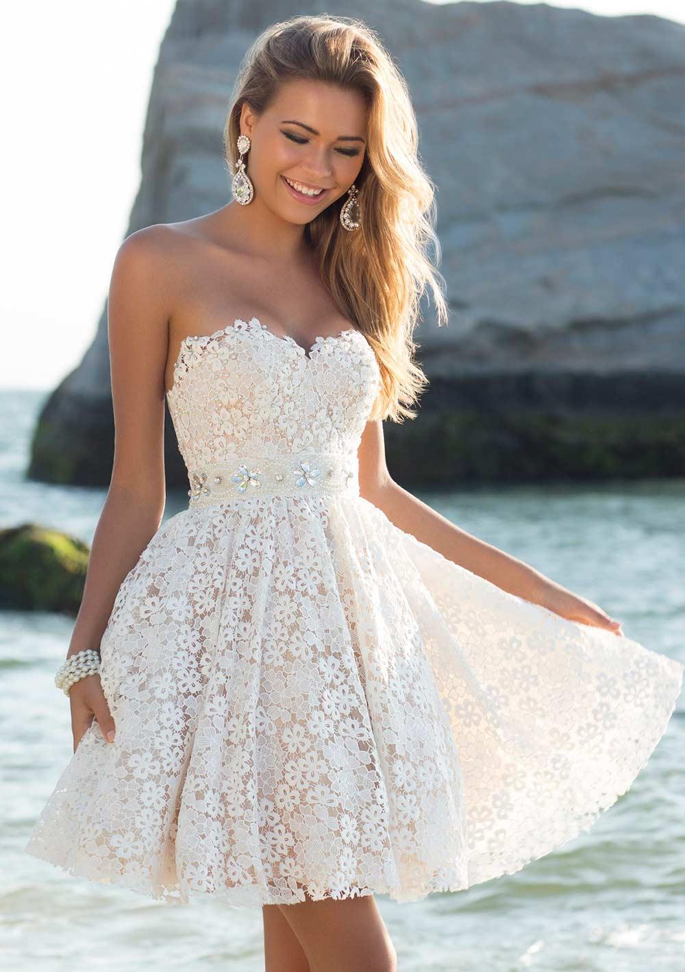 Короткое ажурное свадебное платье купить
